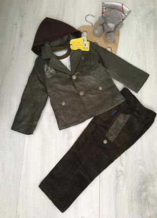 Детский тёплый костюм, брюки, пиджак с капюшоном троечка на мальчика 3-4 г