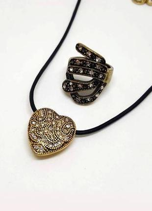 """Винтажный набор: кулон """"сердечко"""" на кожаном шнурке и кольцо pilgrim дания"""