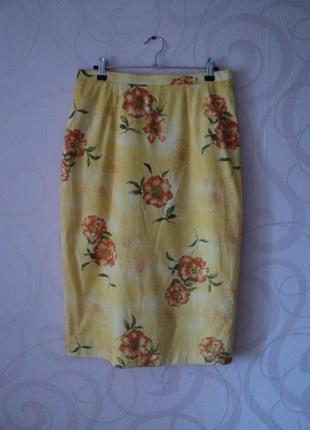 Желтая юбка с цветочным принтом, винтаж, ретро, юбка средней длины, большой размер
