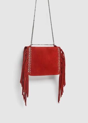 Замшевая сумка с плечевым ремнем и бахромой zara