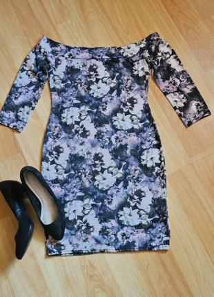 Платье с открытыми плечами в цветочный принт new look