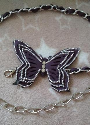 Очень красивый ремешок пояс цепочка с бабочкой