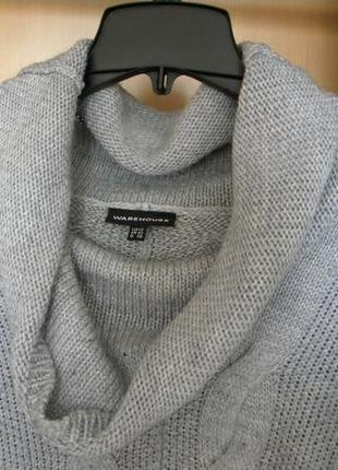 Красивый серый свитер оверсайз крупной вязки warehouse4