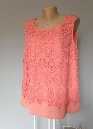 Шикарная блуза кружевная кораллового цвета
