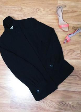Чёрное черное короткое пальто на осень весну шерстяное