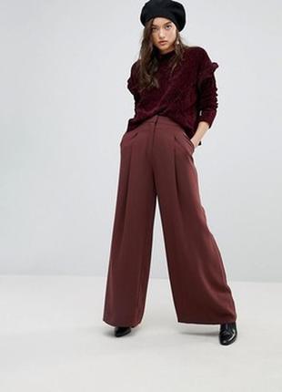 Летние легкие коричневые терракотовые брюки кюлоты расклешенные размер 8