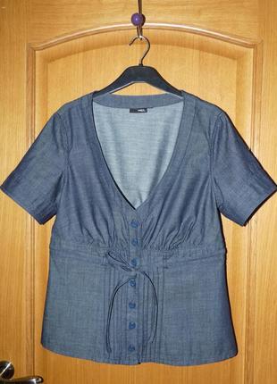 Стильный приталенный пиджак деним