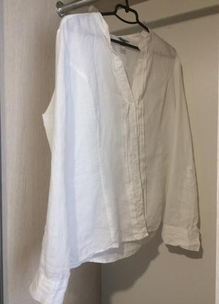 Біла рубашка льон h&m