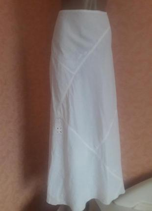 100%лен!!!летняя юбка с вышивкой