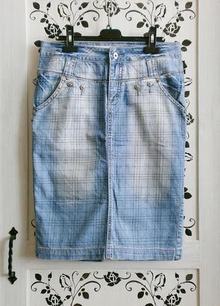 Стильная джинсовая юбка ♡ клетка ♡ миди ♡ 95% хлопок/5% эластан