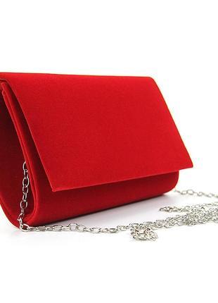 Красная маленькая вечерняя велюровая сумка-клатч через плечо