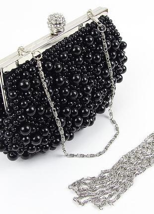Черный маленький вечерний клатч кошелек из жемчуга