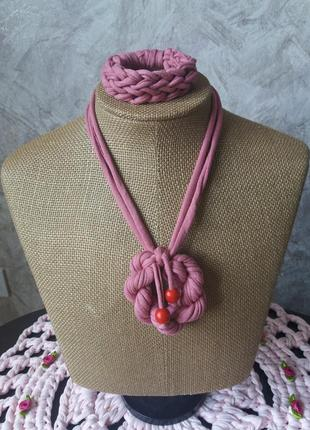 Кулон з браслетом/подвеска медальйон колье бижутерия ручная работа/
