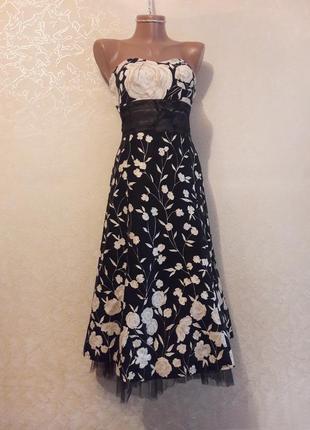 Красивое черное хлопковое платье в цветочный принт