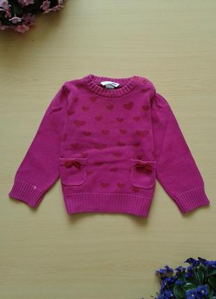 Теплый свитер с сердечками h&m, 92-98, 100% хлопок