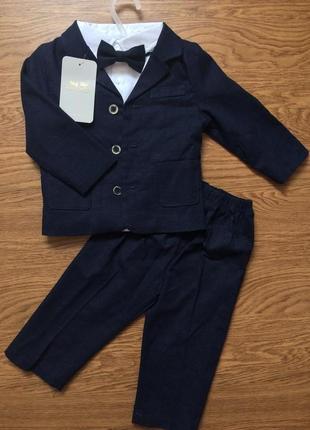 Темно синий стильный костюм летний лён на годик