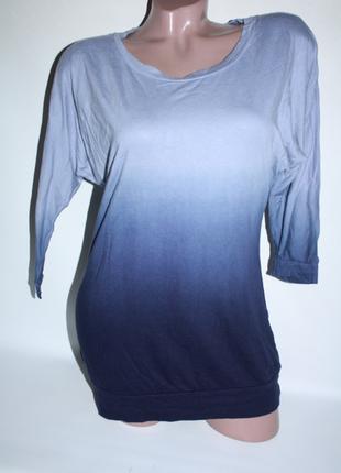 Синяя голубая футболка с рукавом 3\4, легкая кофта омбре градиент (к017)