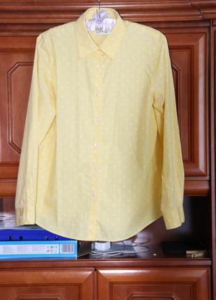 Яркая солнечная  рубашка в горох из натуральной ткани , р12