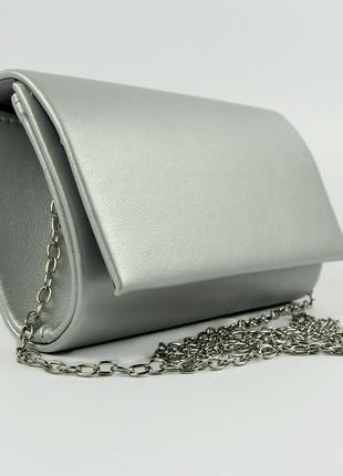 Серая маленькая вечерняя сумка-клатч матовая с цепочкой через плечо