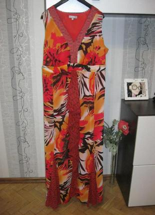 Пышно-сочное цветочное платье с оборками большой размер батал ххххххл 56
