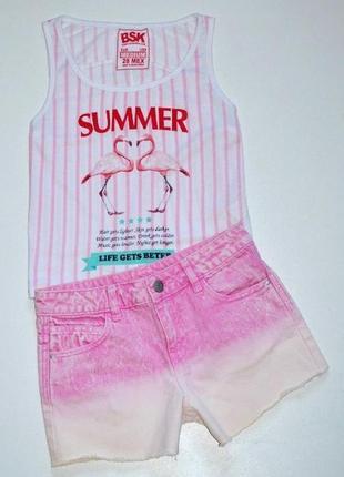 Стильные джинсовые шорты с градиентом  на 9-10 лет