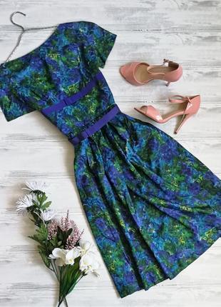 Дизайнерское пышное платье в сине-зеленых цветах 115735 victor josselyn размер eur38 (m)