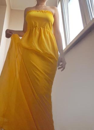 Нереально красивое желтое длинное платье платье-бюстье