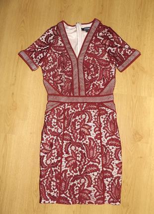 Шикарное платье кружево бордо марсал фирмы missguided