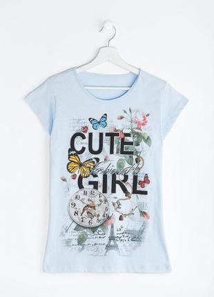 Стильная хлопковая футболка numso с принтом эйфелева башня,розы,бабочки,часы
