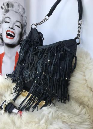 Отличная кожаная сумка торба бохо стиль, натуральная кожа, индия