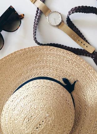 Соломенная шляпа канотье шляпка