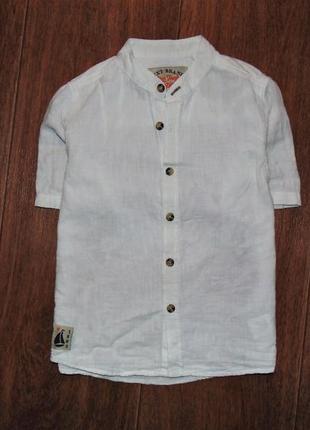 Рубашка next на основе льна,  указано 3-4 г. супер для жары