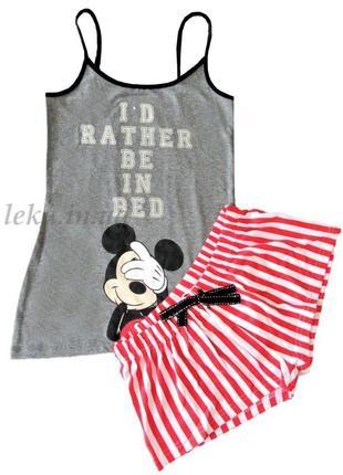 Размеры xs s m летняя пижама майка и шорты mickey mouse primark