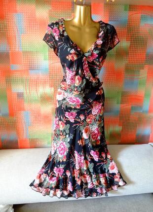 Платье миди шифоновое с оборками marks&spencer