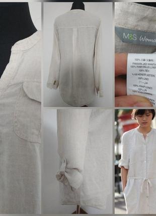 ,, фирменная льняная базовая туника рубашка100% лён льон