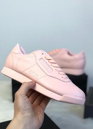 Нежно-розовые, пудровые кожаные кроссовки reebok 36, 37, 38, 39, 40 рр