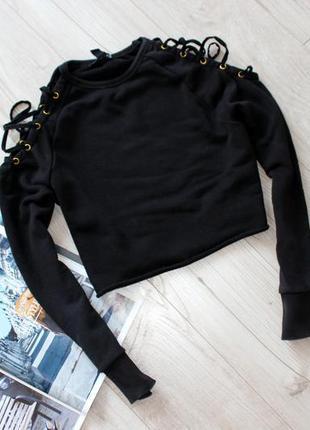 Джемпер худи кофта укороченная черная с завязками шнуровка люверсы с хс 6 8