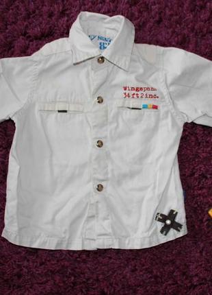 Рубашка сорочка моднячая хлопок на кнопках на мальчика 9 мес - 2,5 года