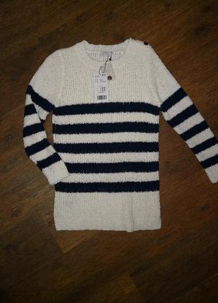Белый синий в полоску джемпер свитер mango