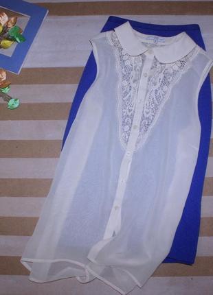 Нежнейшая удлиненная шифоновая блуза без рукавов с вышивкой