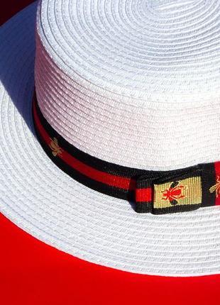 Шляпа, шляпка канотье с пчелой