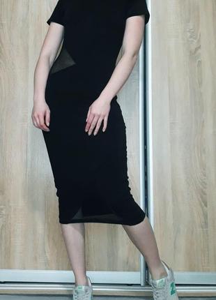 Крутое платье миди со вставками из сетки asos