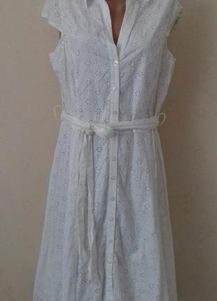 Новое натуральное кремовое платье-рубашка с вышивкой большого размера