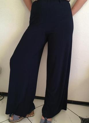 Стильные синие кюлоты брюки клёш клеш штаны женские тренд