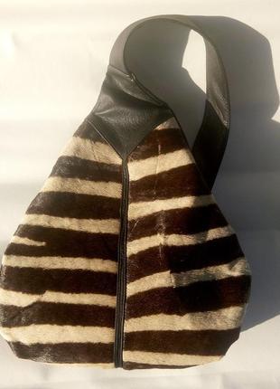 Крутой самобытный кожаный рюкзак naxara натуральная кожа + мех оленя