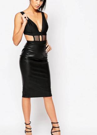 Сексуальное черное бандажное боди со вставками сеточки