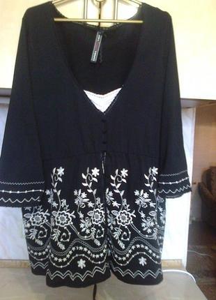 Блуза - вышиванка, коттон с вискозой, дорогая вышивка size 26\28