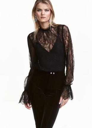 🌿 шикарная, кружевная блузка от h&m