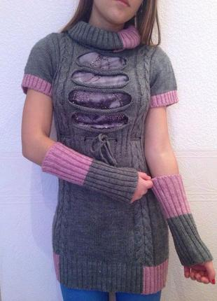 Теплая туника с рукавами