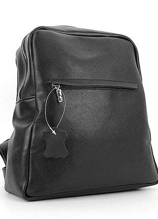 Черный кожаны женский рюкзак